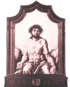The penis of Jesus concealed by a loincloth.