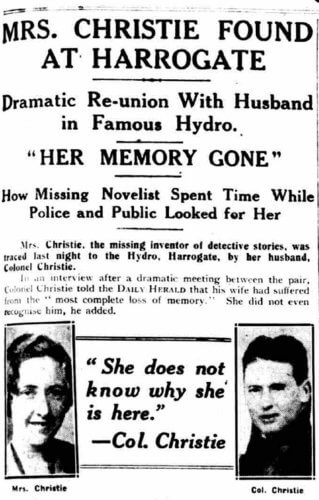 Agatha Christie's disappearance