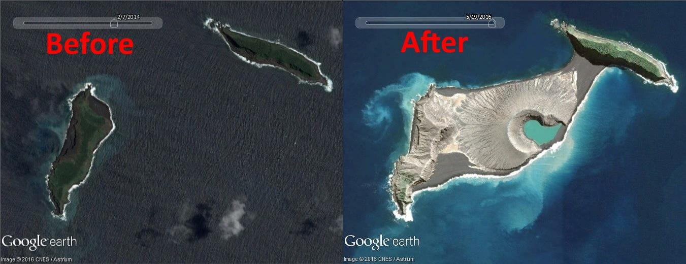 Underwater volcano formed a new island before and after